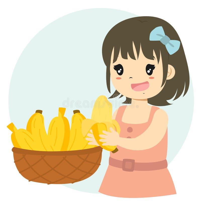 逗人喜爱的女孩吃香蕉动画片传染媒介 向量例证