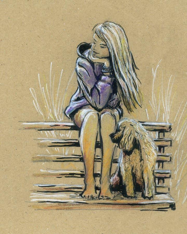 逗人喜爱的女孩和狗在长凳 库存例证