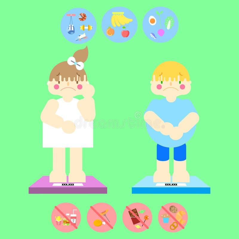 逗人喜爱的女孩和男孩,医疗保健健康节食的生活方式的选择的肥胖超重女性和男性概念infographic 库存例证