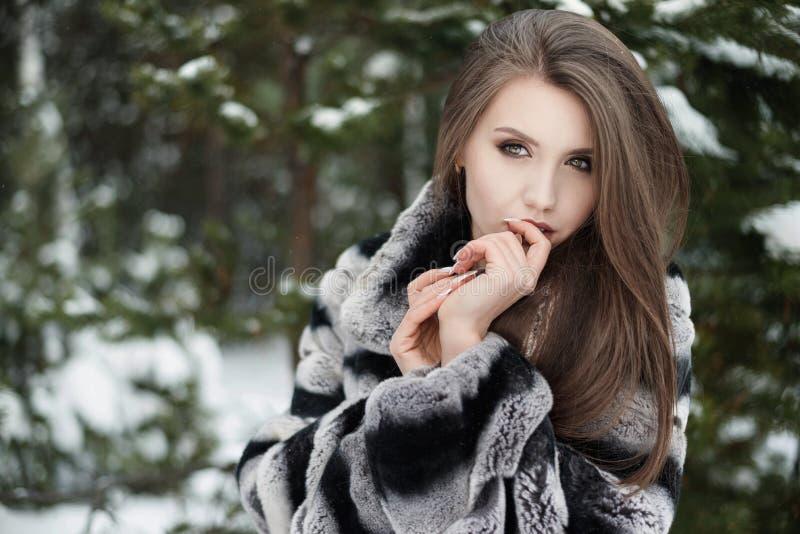 逗人喜爱的女孩在灰色毛皮大衣冬天森林背景中 免版税库存图片