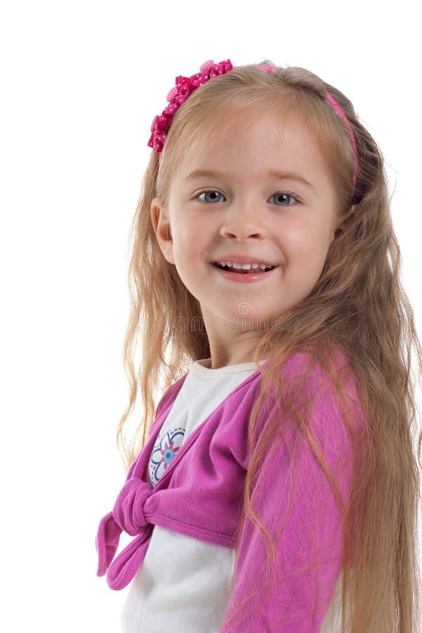 逗人喜爱的女孩头发长期一点 库存照片