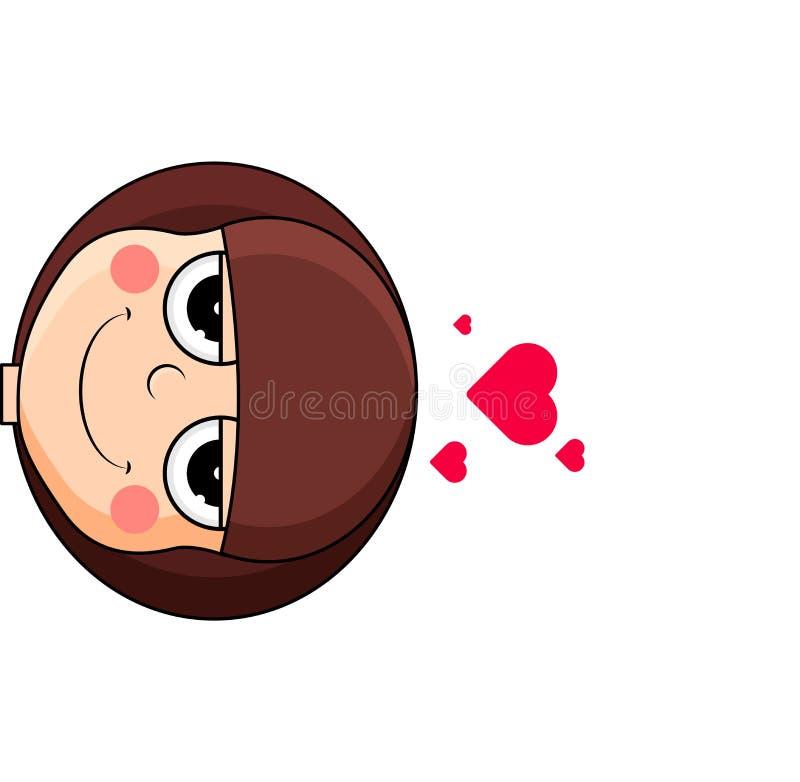 逗人喜爱的女孩头有在头顶上心脏的 踌躇满志的表示 库存例证