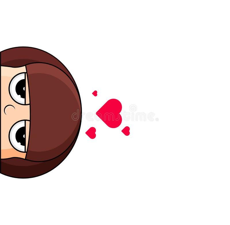逗人喜爱的女孩头有在头顶上心脏的 踌躇满志的表示 向量例证