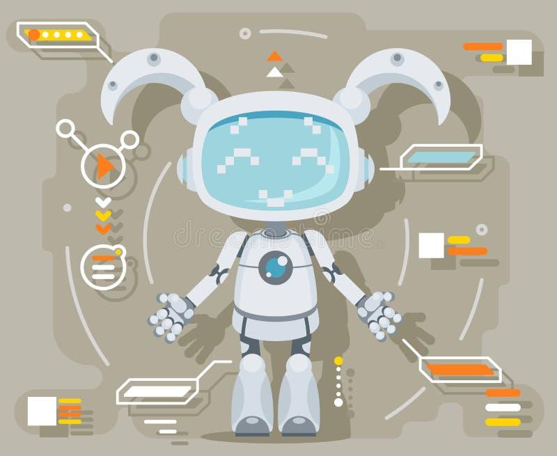 逗人喜爱的女孩女性机器人机器人人工智能未来派信息接口平的设计传染媒介例证 库存例证