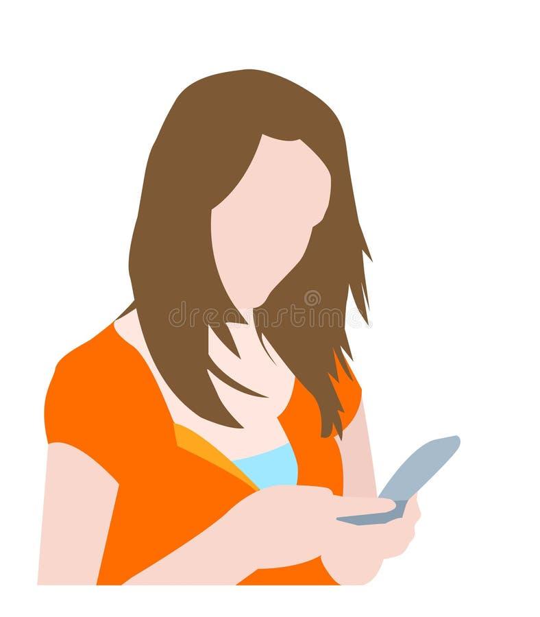 逗人喜爱的女孩她移动电话键入 向量例证