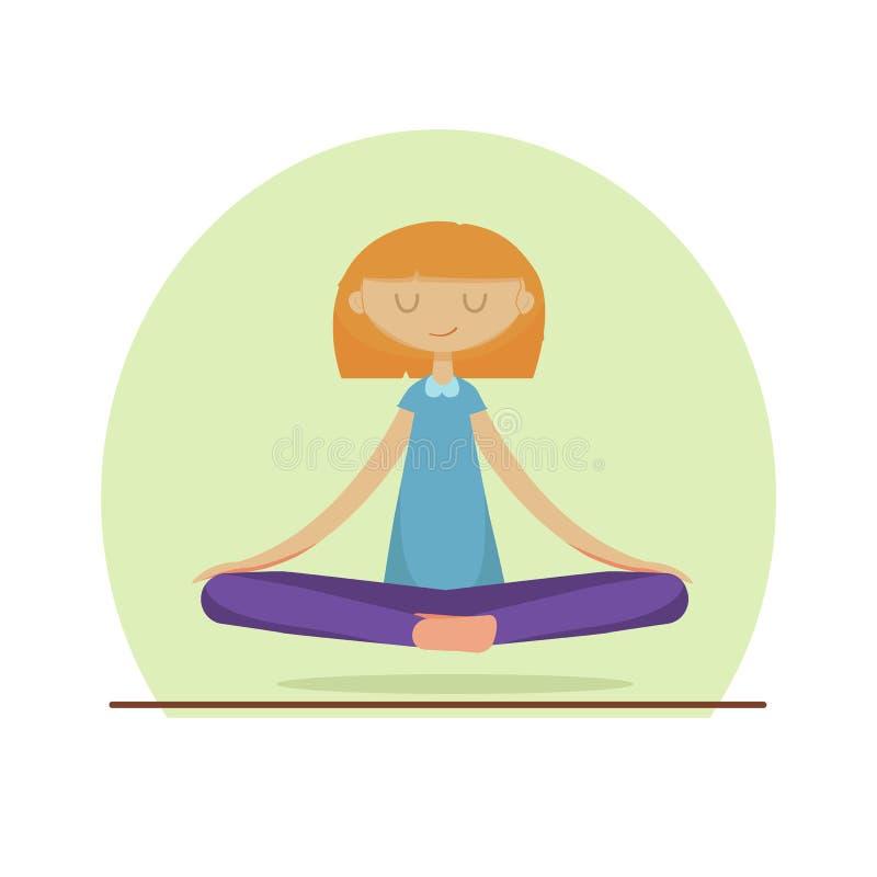 逗人喜爱的女孩实践的瑜伽 库存例证