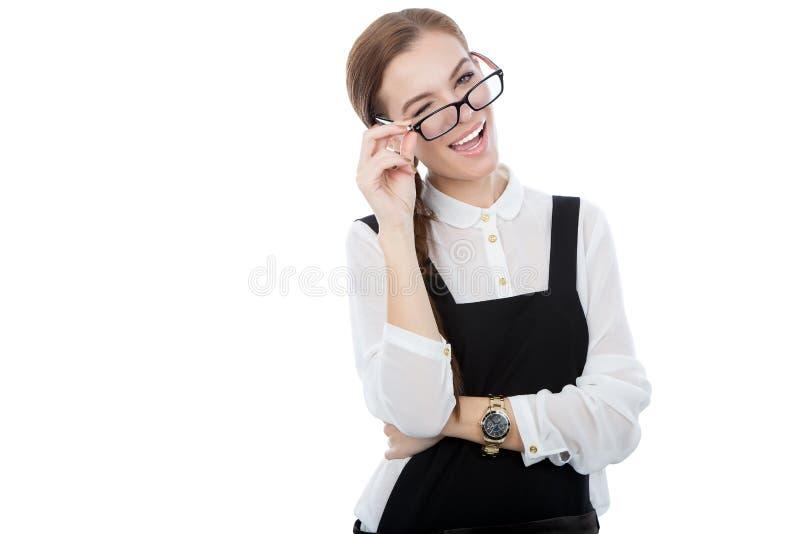 逗人喜爱的女孩对照相机闪光。复制可利用的空间。 库存图片