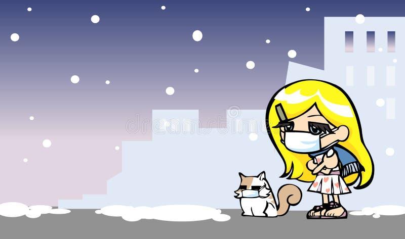 逗人喜爱的女孩得到与猫的寒冷 库存图片