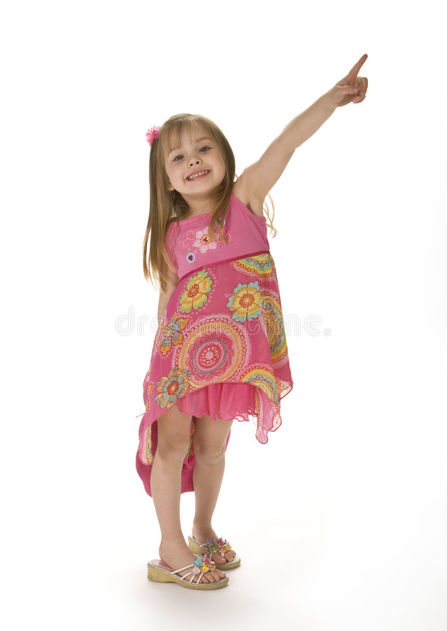 逗人喜爱的女孩桃红色指向 库存图片
