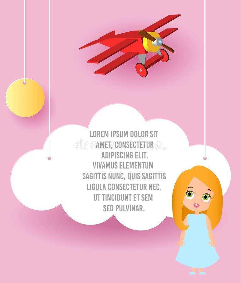 逗人喜爱的女孩漫画人物 导航云彩和平面飞行纸艺术在天空 模板与空间的宣传手册t的 皇族释放例证