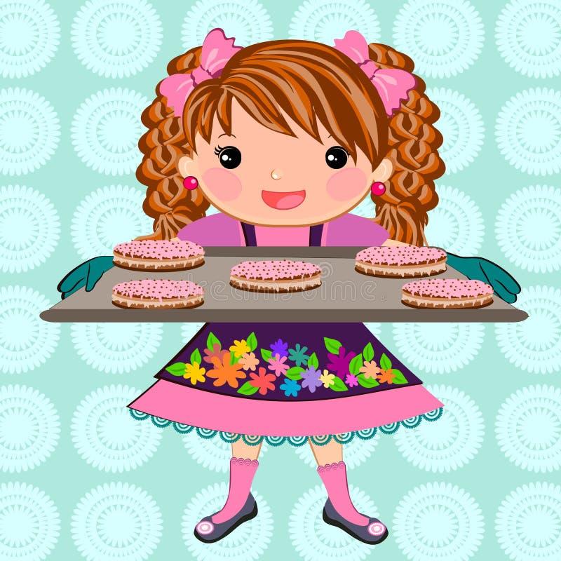 逗人喜爱的女孩烘烤曲奇饼动画片 皇族释放例证