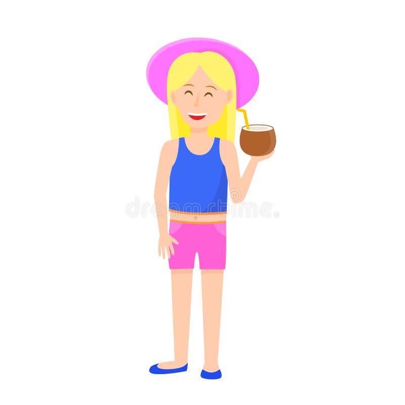 逗人喜爱的女孩用金发藏品椰子 库存例证