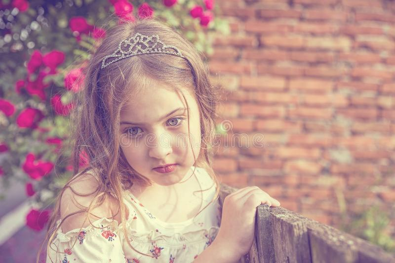 逗人喜爱的女孩画象在木篱芭和美丽的花旁边的 库存照片