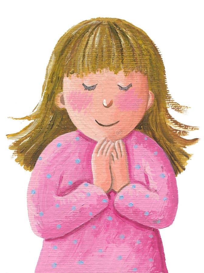 逗人喜爱的女孩祈祷的一点 向量例证