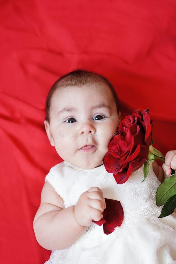 逗人喜爱的女孩红色上升了 库存图片