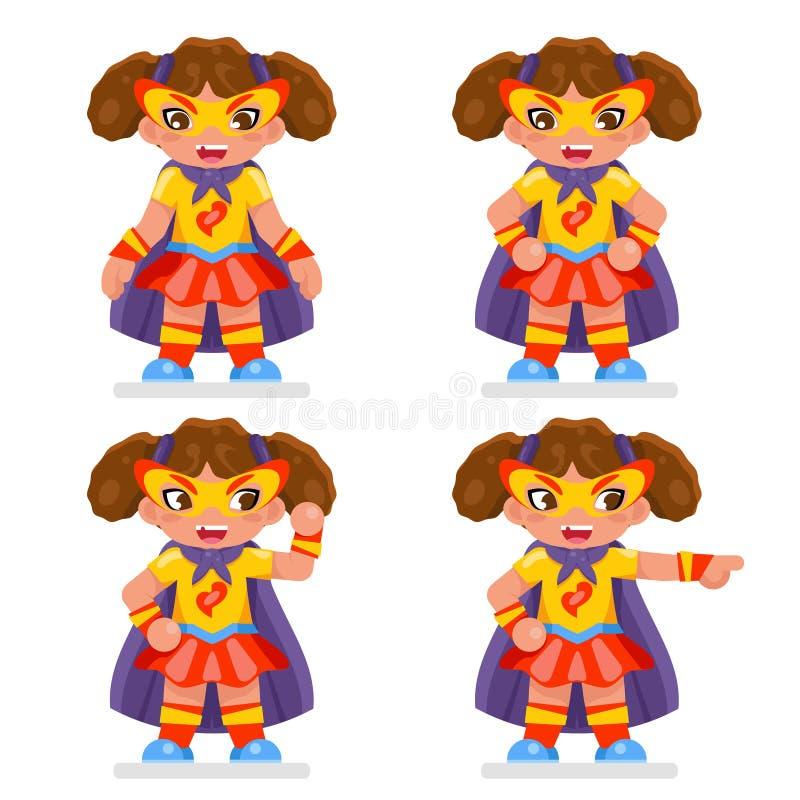 逗人喜爱的女孩超能力英雄青少年的妇女字符女性平的设计孩子传染媒介例证 皇族释放例证