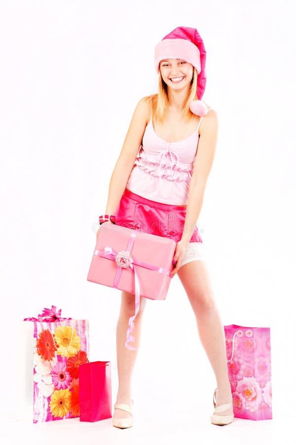 逗人喜爱的女孩辅助工圣诞老人 库存图片