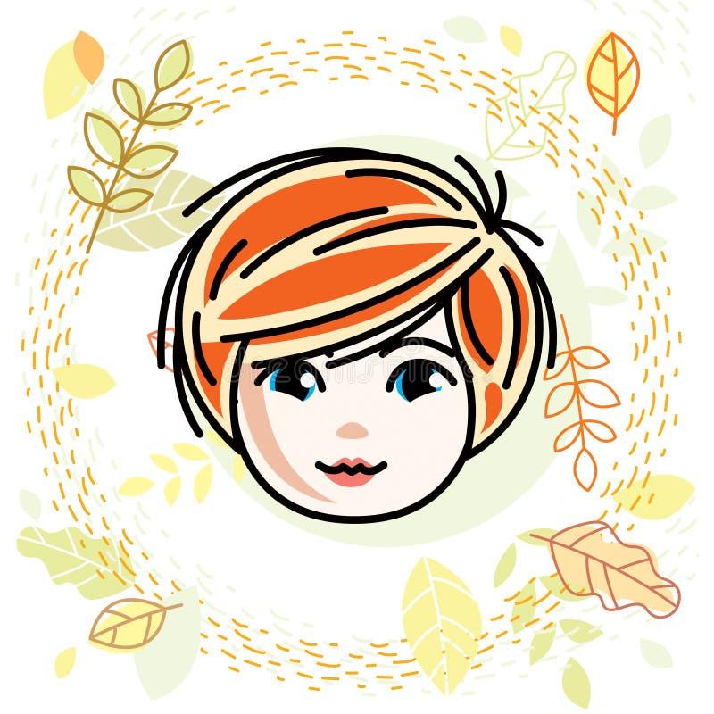 逗人喜爱的女孩面孔,人头 传染媒介红头发人字符,微笑 库存例证