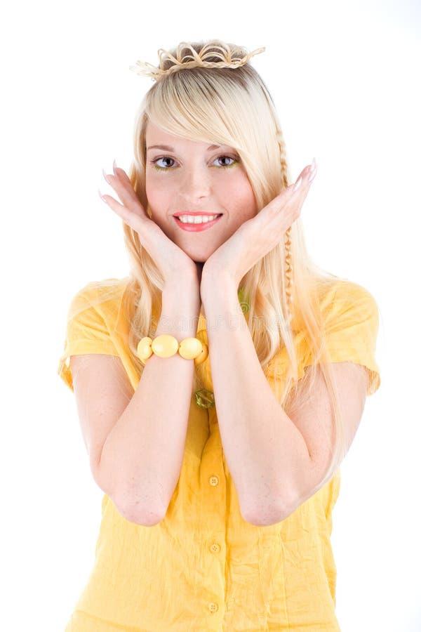逗人喜爱的女孩顶部黄色 库存照片