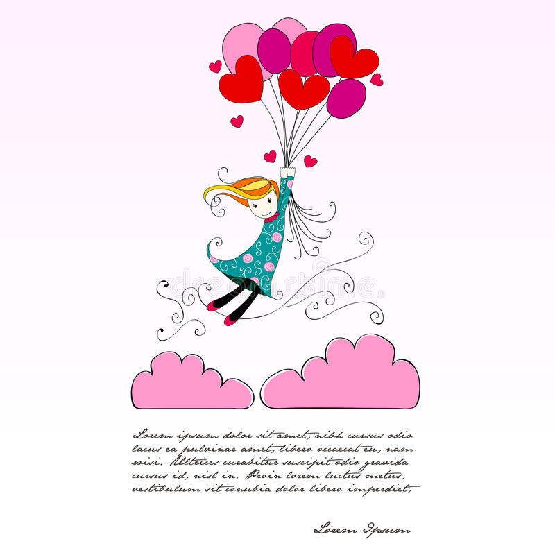 逗人喜爱的女孩飞行在心形的气球 向量例证