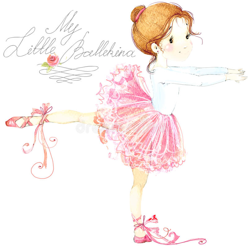 逗人喜爱的女孩 芭蕾舞女演员 芭蕾舞女演员逗人喜爱的女孩 芭蕾舞女演员水彩 向量例证