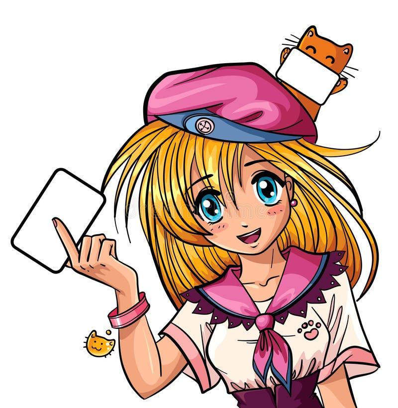 逗人喜爱的女孩manga 向量例证