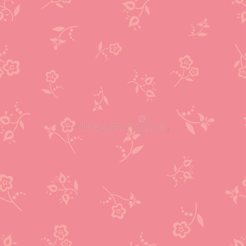 逗人喜爱的女性民间五颜六色花无缝的重复的背景 小花卉样式 少女装、Tracht,桃红色和娘儿们, 库存例证