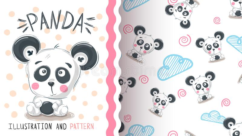 逗人喜爱的女用连杉衬裤熊猫-无缝的样式 库存例证