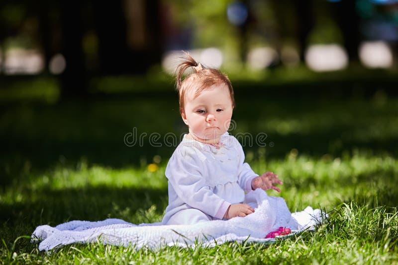 逗人喜爱的女婴坐绿草在城市公园温暖的夏日 库存照片
