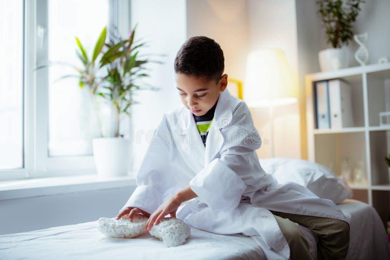 逗人喜爱的好奇使用与脑子模型的男孩佩带的白色夹克  库存照片