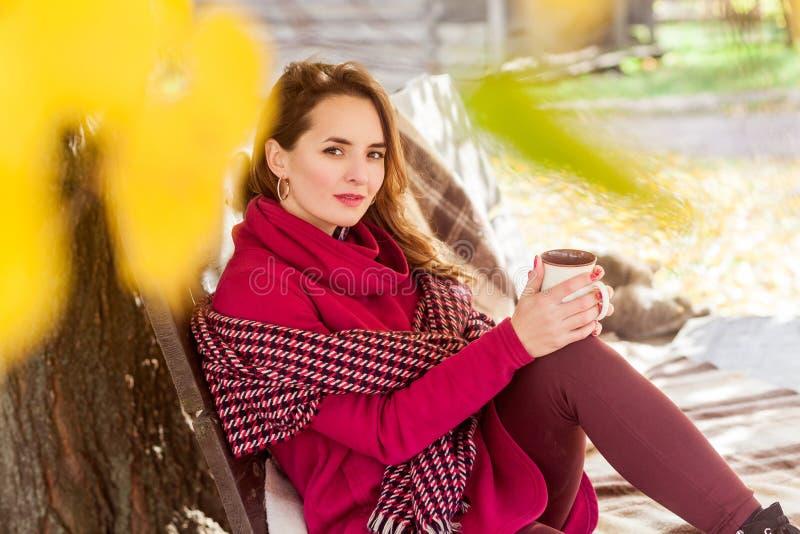 逗人喜爱的妇女坐长凳在秋天公园,拿着杯子 库存照片