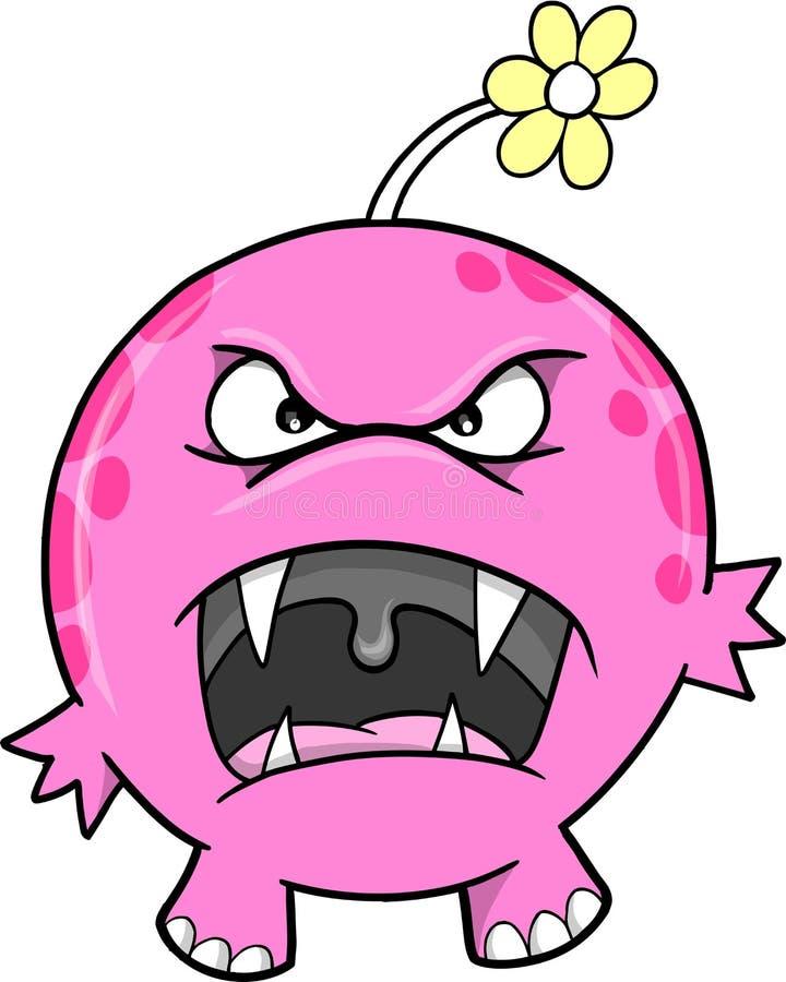 逗人喜爱的妖怪粉红色向量 向量例证