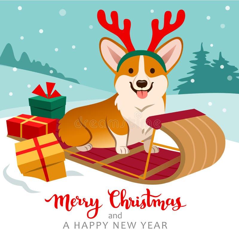 逗人喜爱的威尔士小狗狗坐雪撬佩带的驯鹿鹿角wi 库存例证