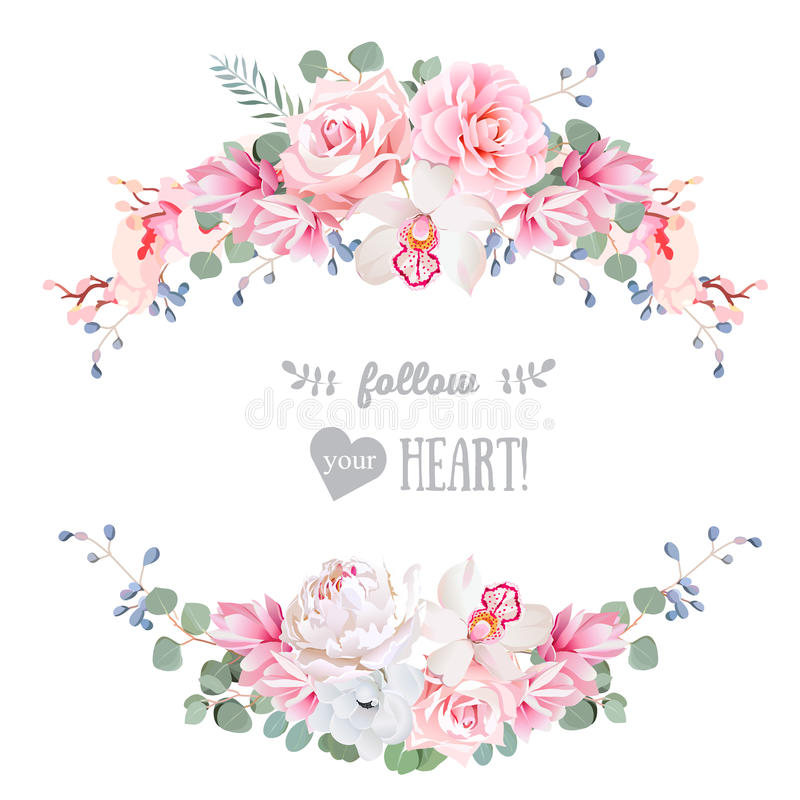 逗人喜爱的婚礼花卉传染媒介设计框架 罗斯,牡丹,兰花,银莲花属,桃红色花, eucaliptus离开 向量例证