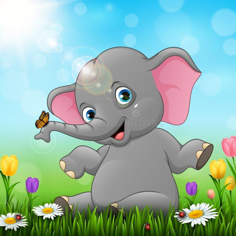 逗人喜爱的婴孩大象坐草背景 皇族释放例证