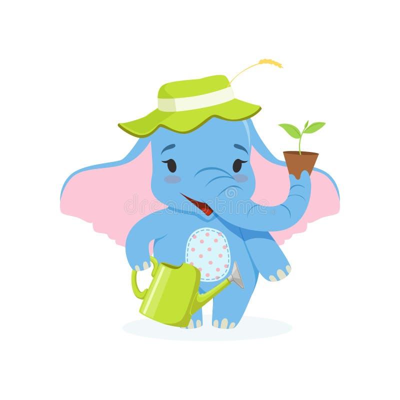逗人喜爱的婴孩大象花匠、滑稽的密林动物字符站立与喷壶的和花盆导航例证 皇族释放例证