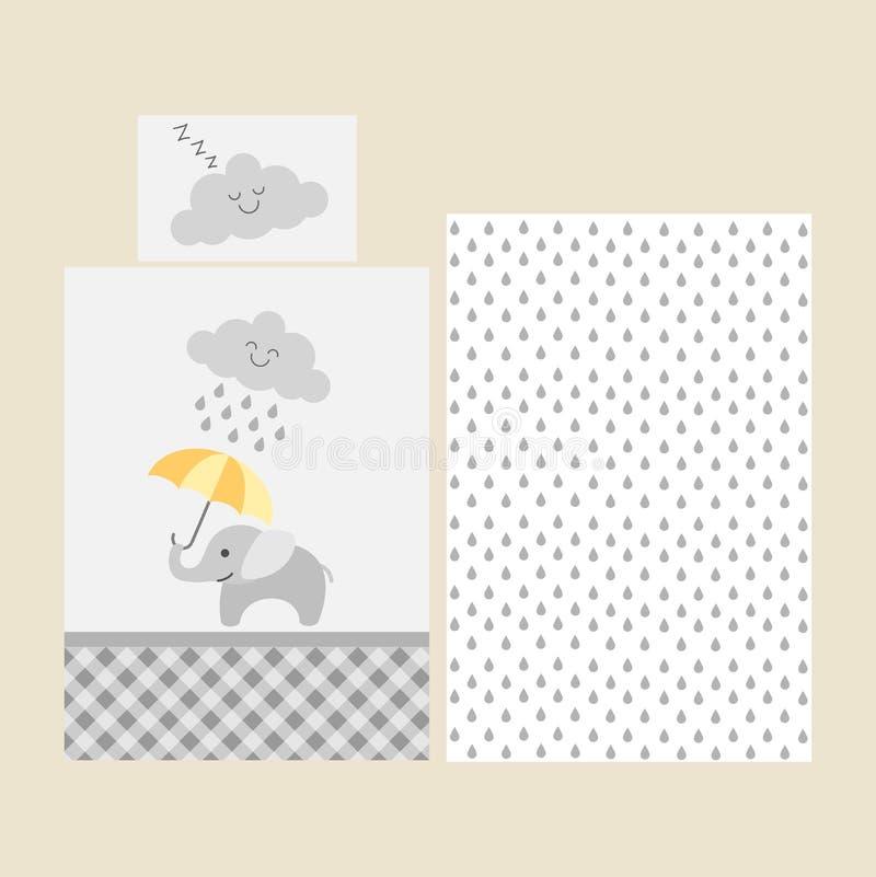 逗人喜爱的婴孩床单样式-与橙色伞的大象在多雨云彩下 向量例证