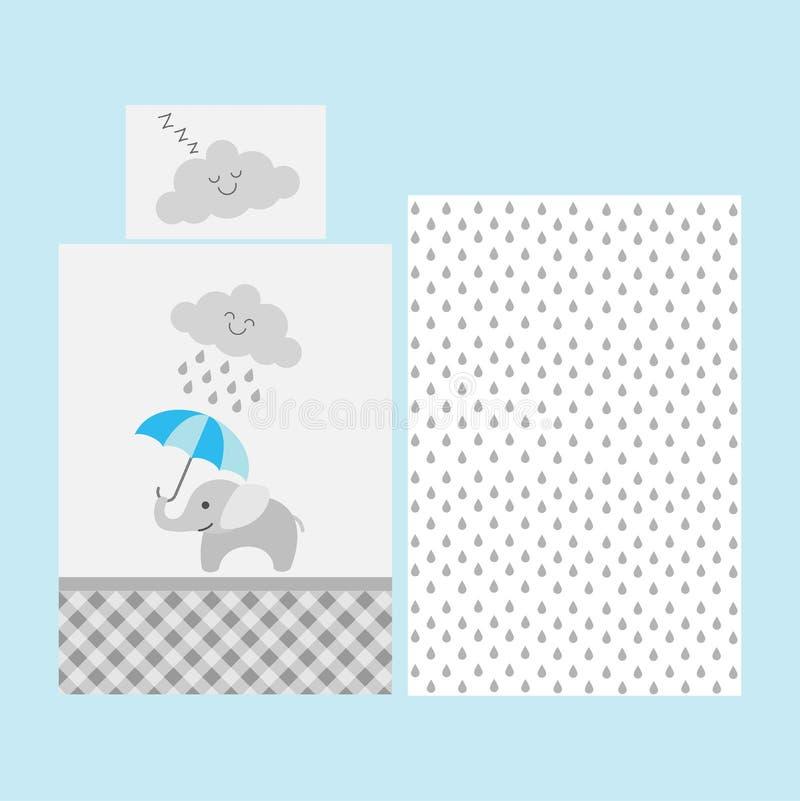 逗人喜爱的婴孩床单样式-与蓝色伞的大象在多雨云彩下 库存例证