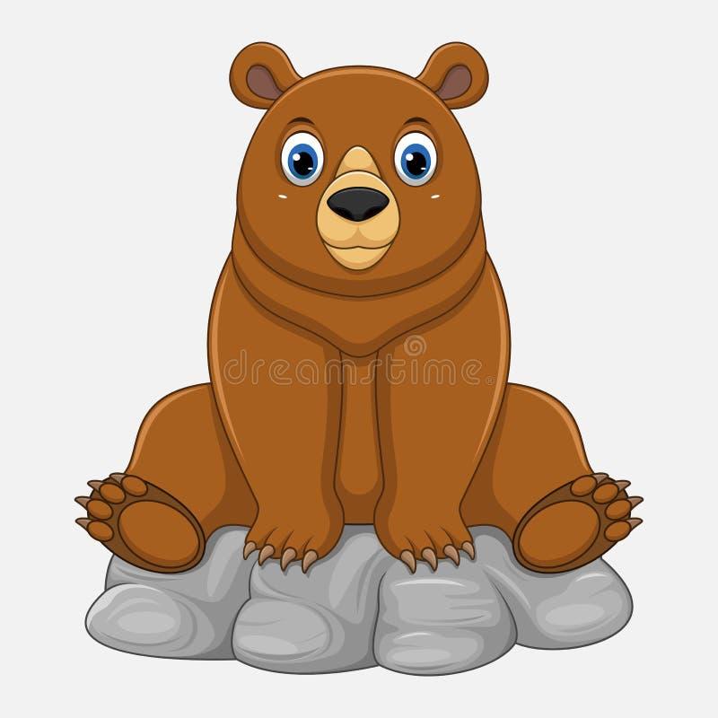 逗人喜爱的婴孩熊动画片坐岩石 向量例证