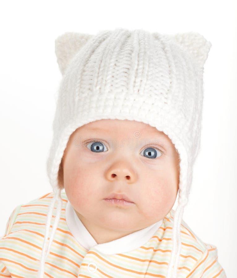 逗人喜爱的婴孩特写镜头纵向  免版税库存照片