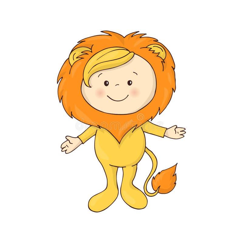 逗人喜爱的婴孩的例证狮子化装舞会服装服装传染媒介的在白色背景 皇族释放例证