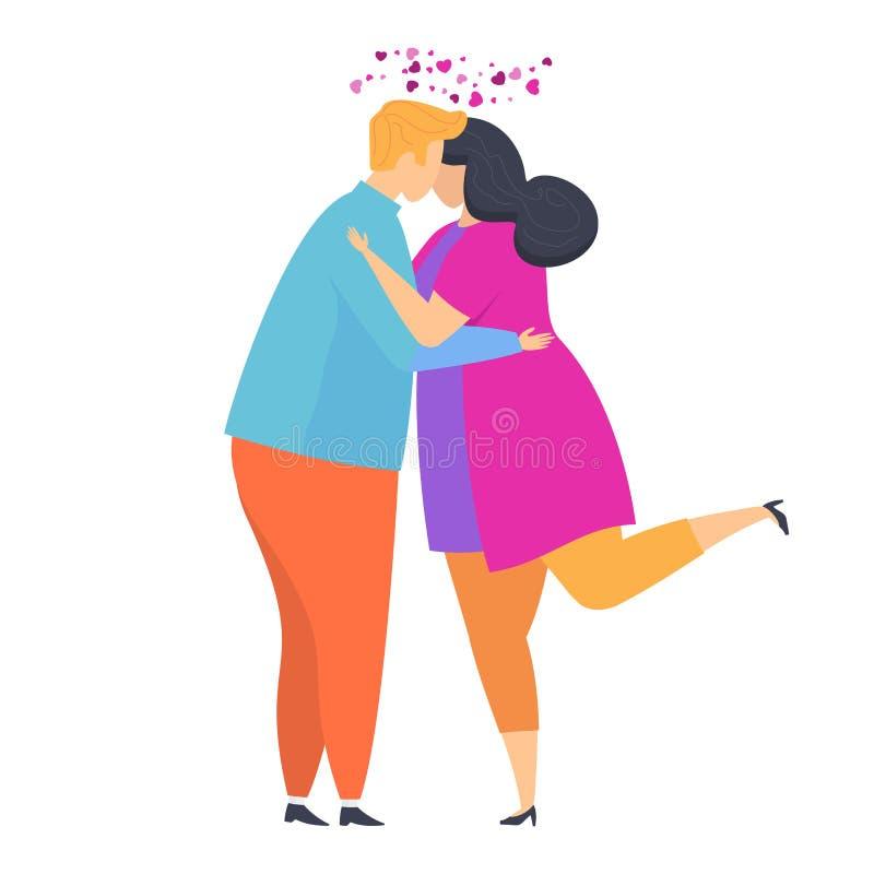 逗人喜爱的嫩爱拥抱人和女孩 字符为情人节 库存例证