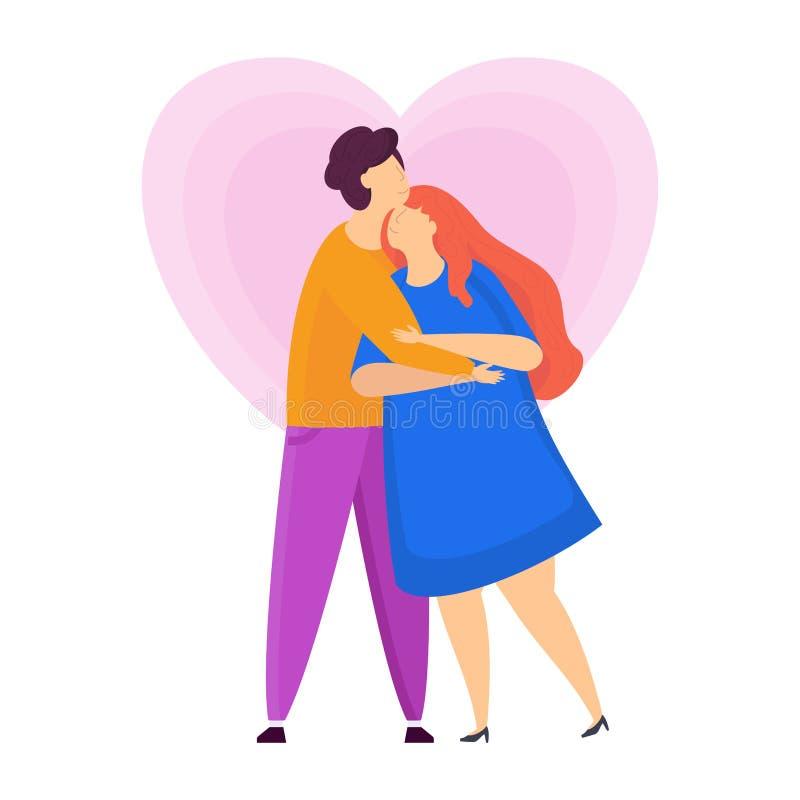 逗人喜爱的嫩爱拥抱人和女孩 字符为情人节 皇族释放例证