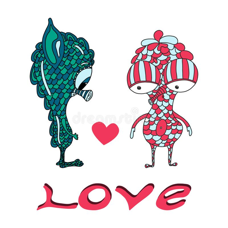 逗人喜爱的字符和心脏 E 在爱上写字 手工制造传染媒介例证 向量例证