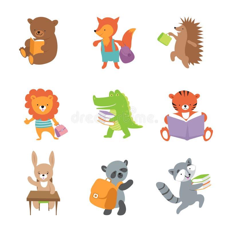 逗人喜爱的学校动物 熊和狐狸、狮子和鳄鱼、老虎和熊猫 传染媒介学校小动物集合 向量例证