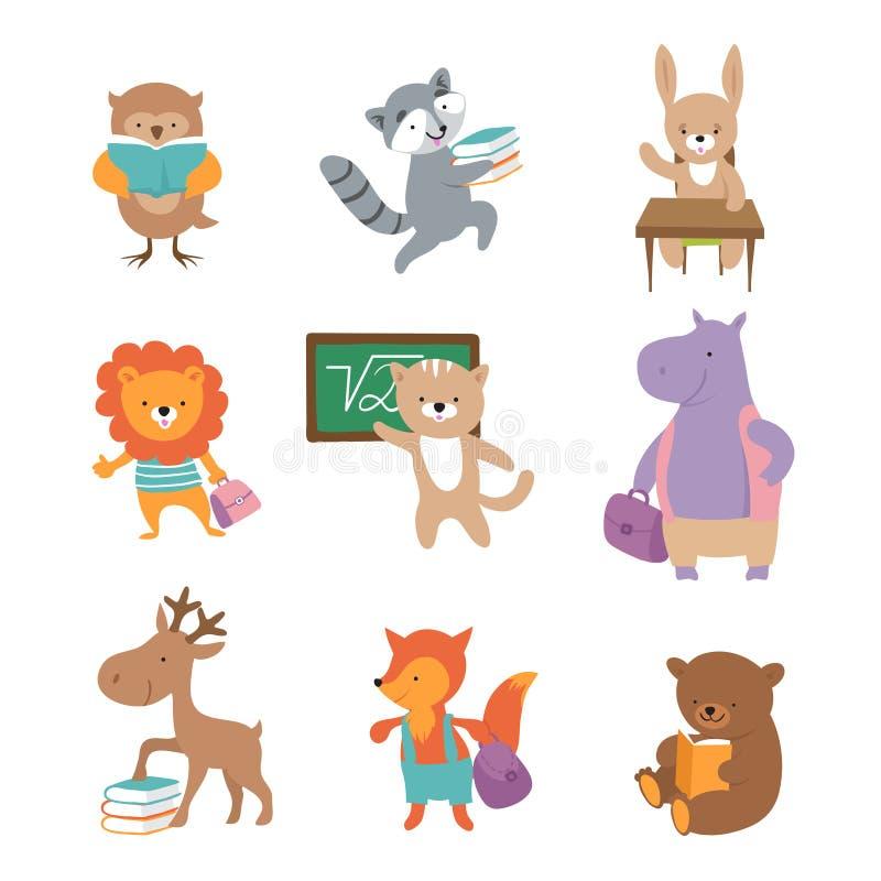 逗人喜爱的学校动物 熊浣熊狮子野兔河马狐狸、学生与书和背包 回到学校传染媒介字符 皇族释放例证