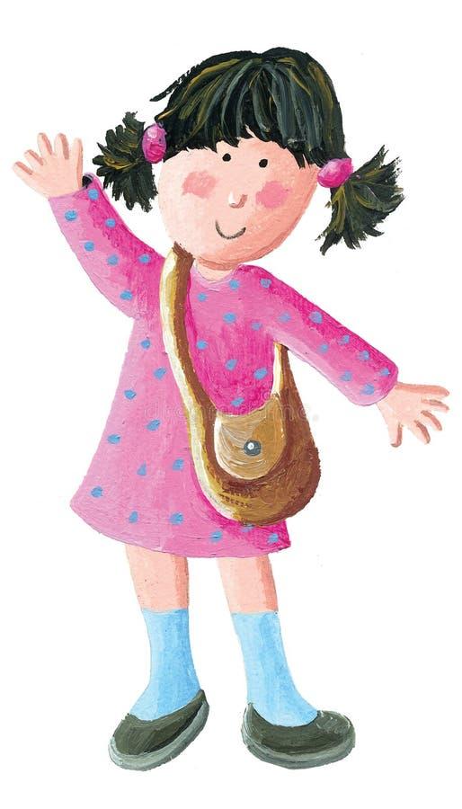 逗人喜爱的学校女孩去学校或幼儿园 向量例证