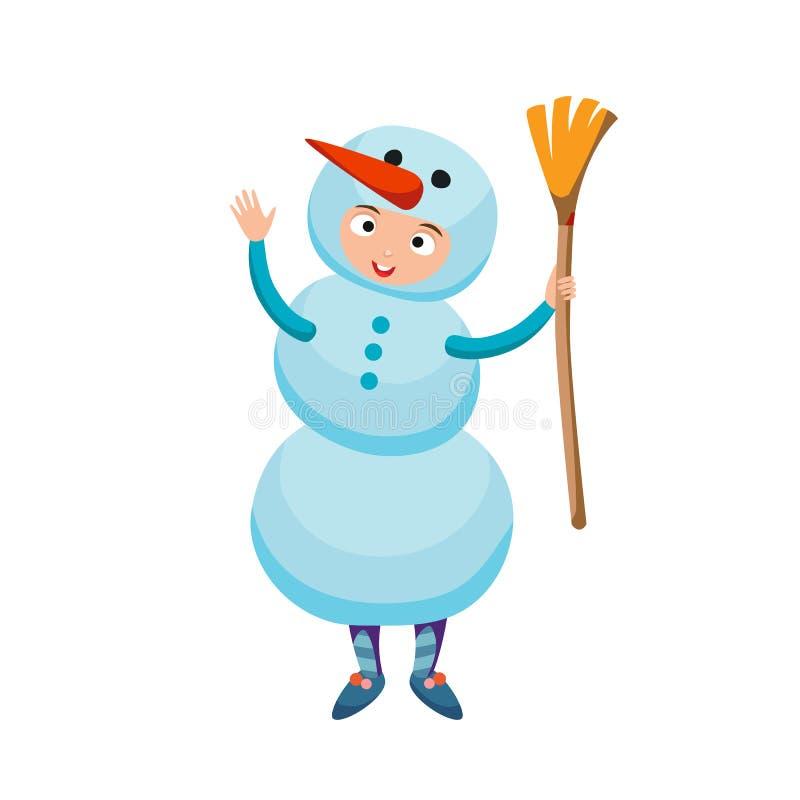 逗人喜爱的孩子佩带的圣诞节雪人服装传染媒介 皇族释放例证