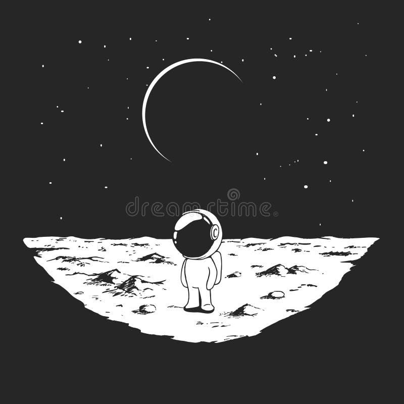 逗人喜爱的宇航员站立单独在月亮 库存例证