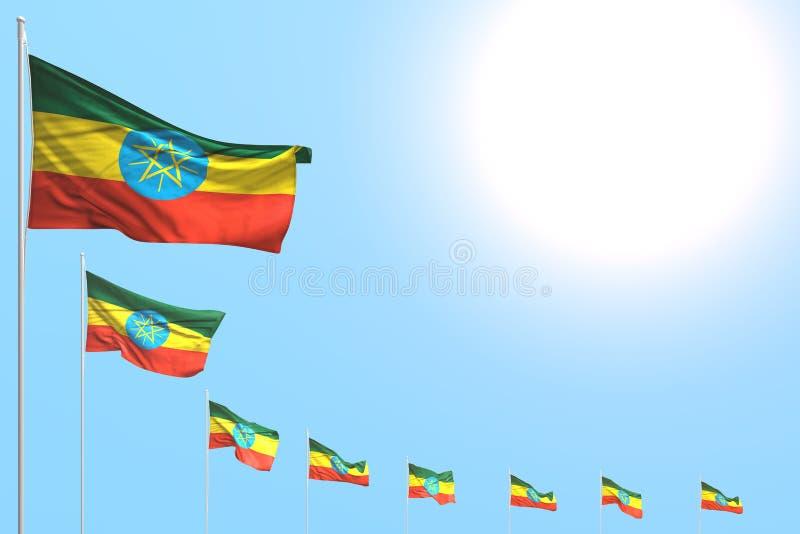 逗人喜爱的宴餐旗子3d例证-许多埃塞俄比亚旗子在与地方的天空蔚蓝安置了对角内容的 库存例证